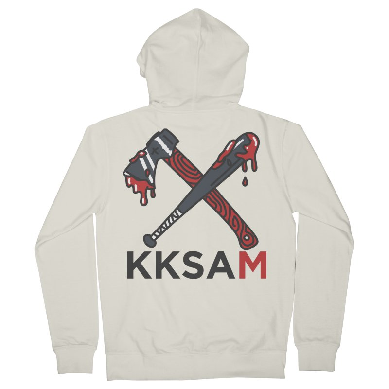 Kim and Ket Stay Alive... Maybe KKSAM Bat & Axe on White Women's Zip-Up Hoody by Kim and Ket Stay Alive... Maybe Podcast