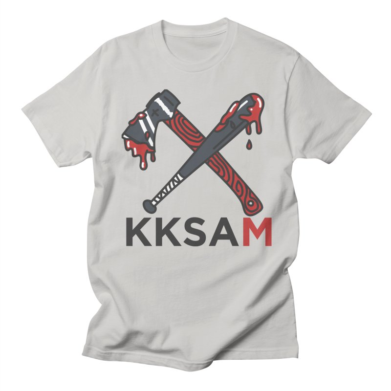 Kim and Ket Stay Alive... Maybe KKSAM Bat & Axe on White Women's Regular Unisex T-Shirt by Kim and Ket Stay Alive... Maybe Podcast