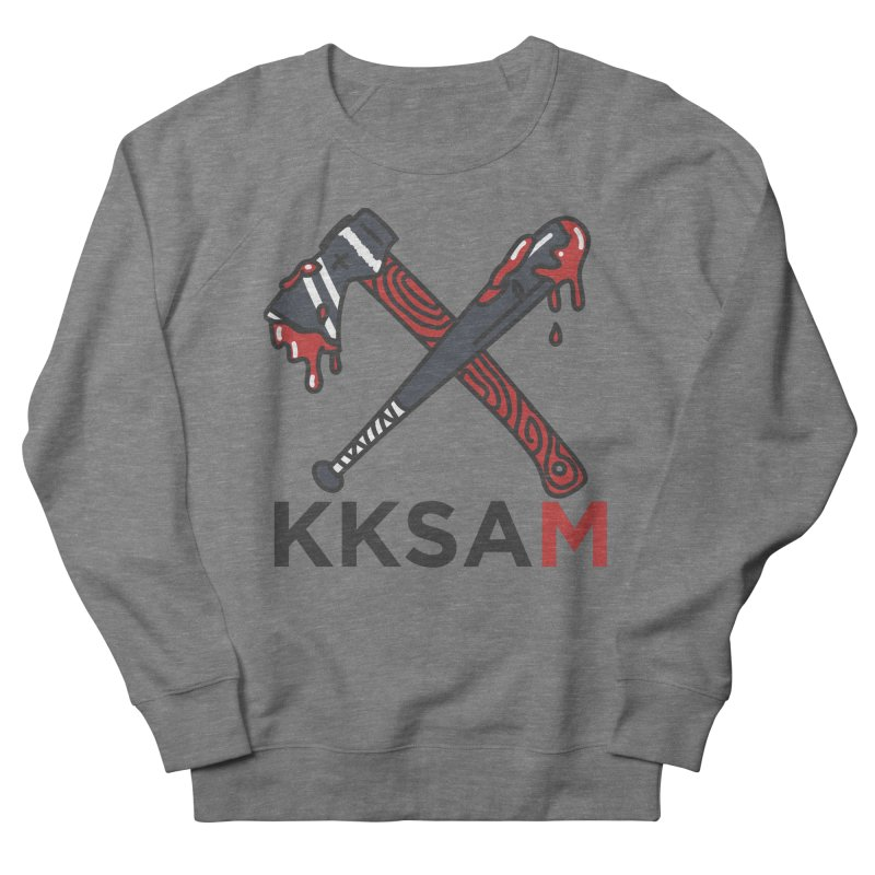 Kim and Ket Stay Alive... Maybe KKSAM Bat & Axe on White Women's French Terry Sweatshirt by Kim and Ket Stay Alive... Maybe Podcast