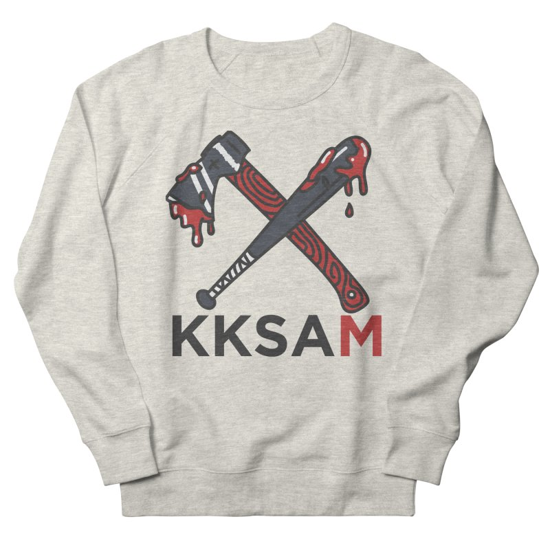 Kim and Ket Stay Alive... Maybe KKSAM Bat & Axe on White Women's Sweatshirt by Kim and Ket Stay Alive... Maybe Podcast