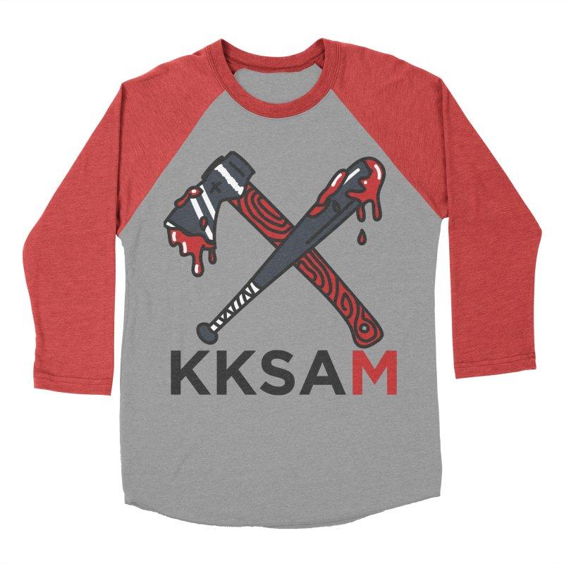 Kim and Ket Stay Alive... Maybe KKSAM Bat & Axe on White Women's Baseball Triblend Longsleeve T-Shirt by Kim and Ket Stay Alive... Maybe Podcast