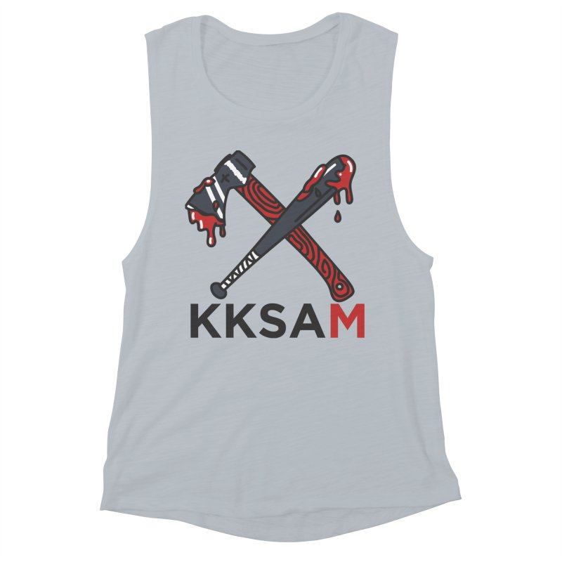 Kim and Ket Stay Alive... Maybe KKSAM Bat & Axe on White Women's Tank by Kim and Ket Stay Alive... Maybe Podcast