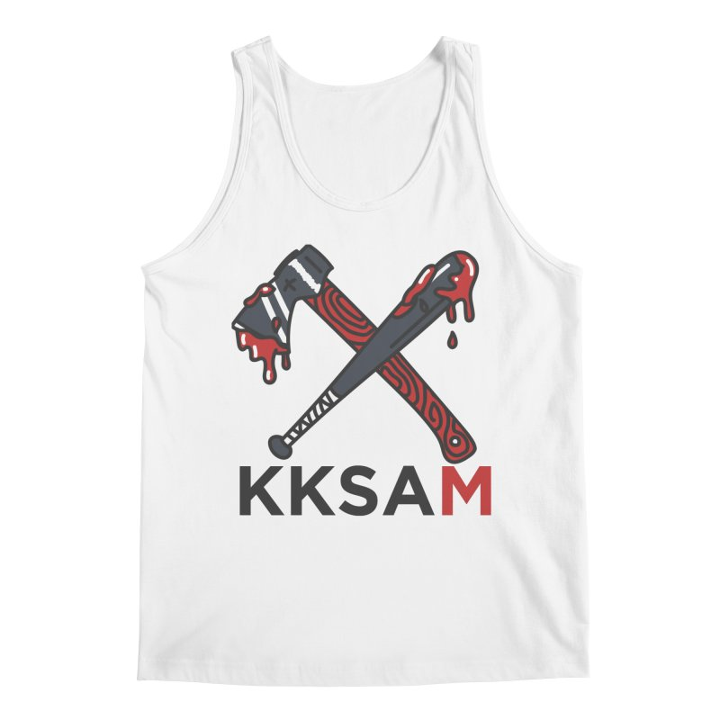 Kim and Ket Stay Alive... Maybe KKSAM Bat & Axe on White Men's Tank by Kim and Ket Stay Alive... Maybe Podcast