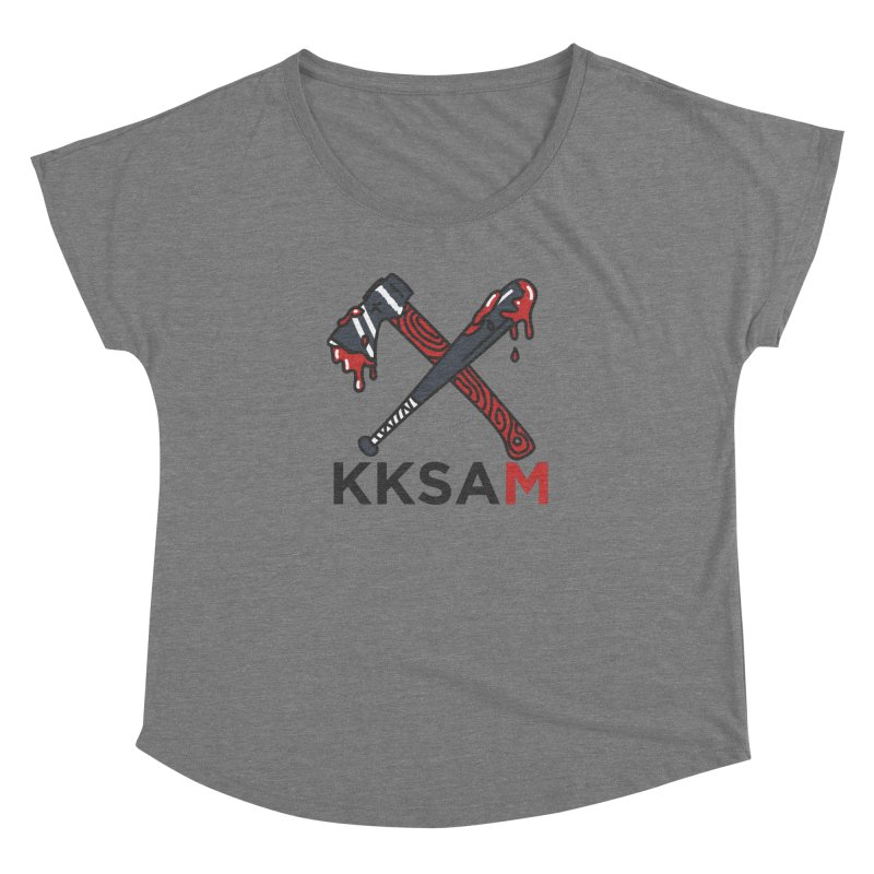 Kim and Ket Stay Alive... Maybe KKSAM Bat & Axe on White in Women's Dolman Scoop Neck Grey Triblend by Kim and Ket Stay Alive... Maybe Podcast