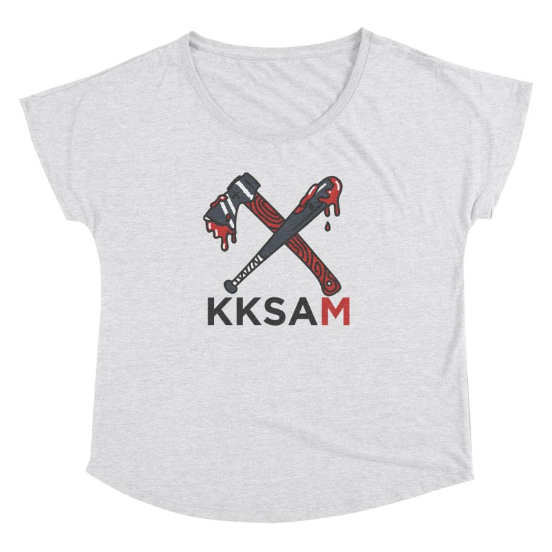 Kim and Ket Stay Alive... Maybe KKSAM Bat & Axe on White Women's Dolman Scoop Neck by Kim and Ket Stay Alive... Maybe Podcast