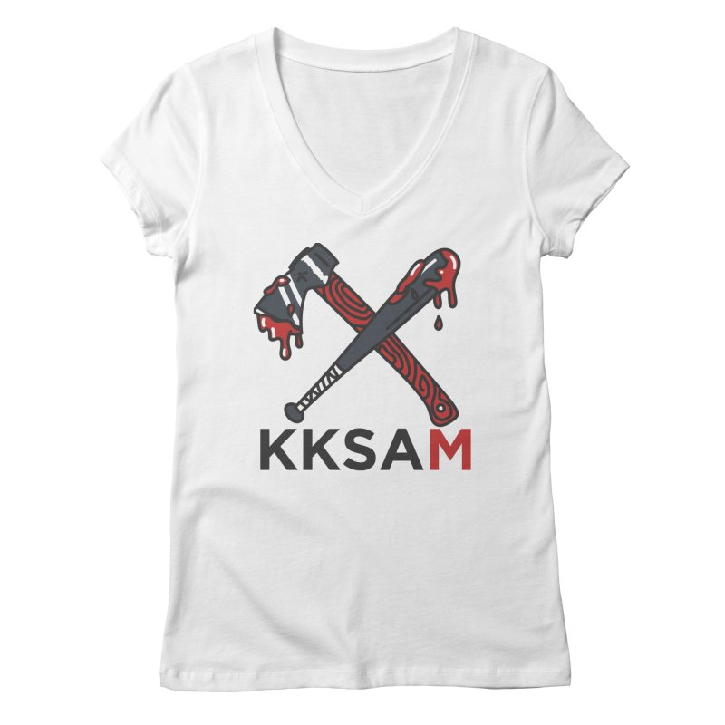 Kim and Ket Stay Alive... Maybe KKSAM Bat & Axe on White Women's V-Neck by Kim and Ket Stay Alive... Maybe Podcast