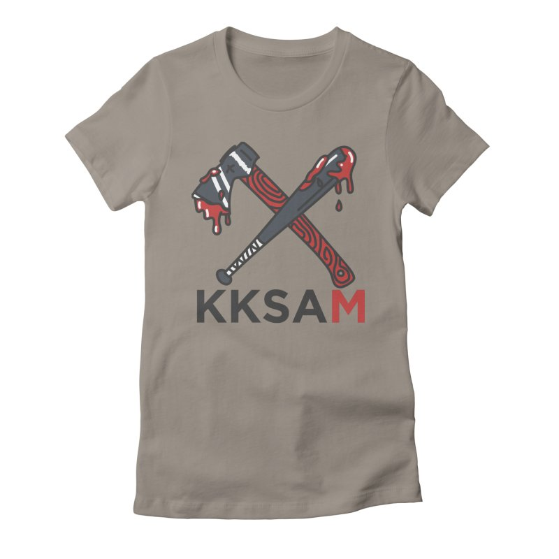 Kim and Ket Stay Alive... Maybe KKSAM Bat & Axe on White Women's Fitted T-Shirt by Kim and Ket Stay Alive... Maybe Podcast