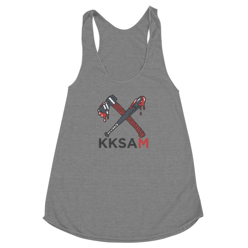 Kim and Ket Stay Alive... Maybe KKSAM Bat & Axe on White in Women's Racerback Triblend Tank Grey Triblend by Kim and Ket Stay Alive... Maybe Podcast