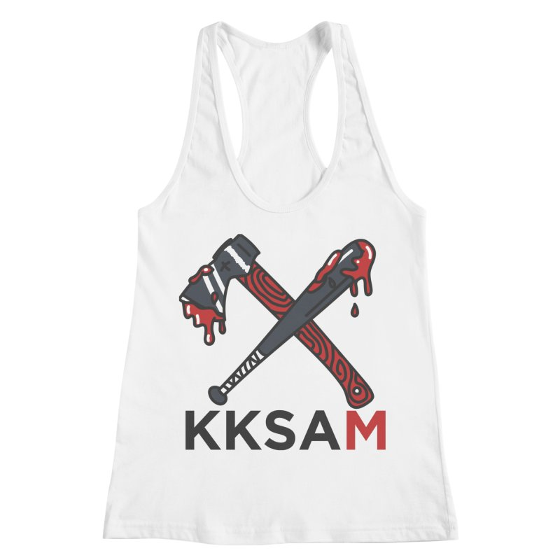 Kim and Ket Stay Alive... Maybe KKSAM Bat & Axe on White Women's Racerback Tank by Kim and Ket Stay Alive... Maybe Podcast