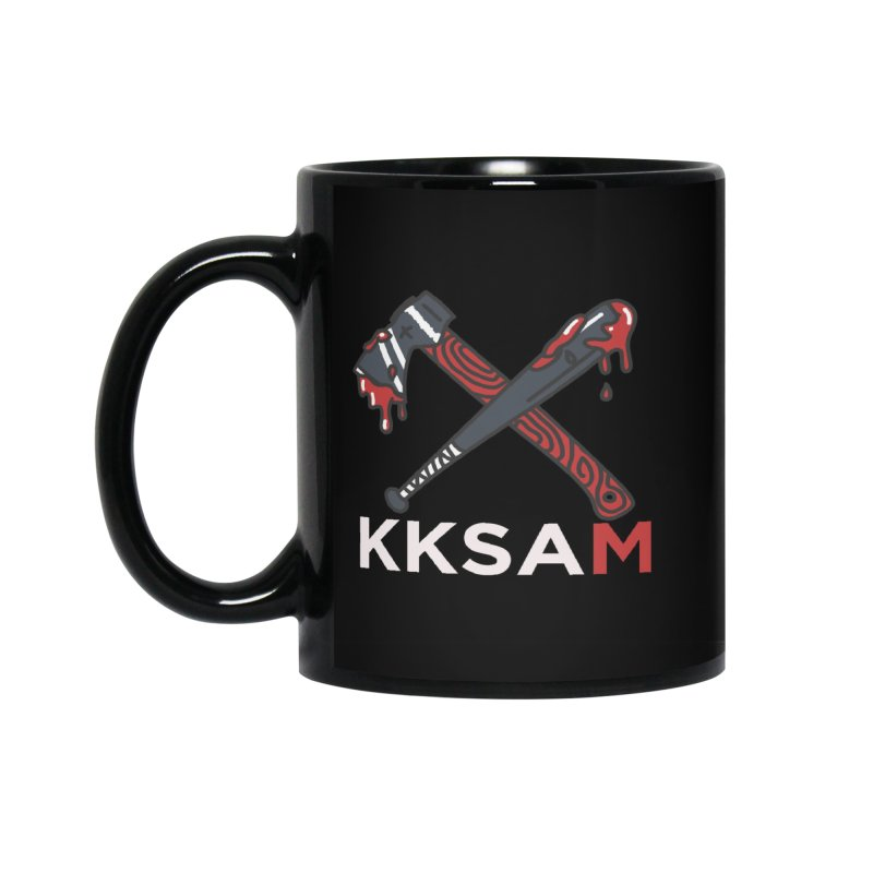 Kim and Ket Stay Alive... Maybe KKSAM Bat & Axe on Black Accessories Standard Mug by Kim and Ket Stay Alive... Maybe Podcast