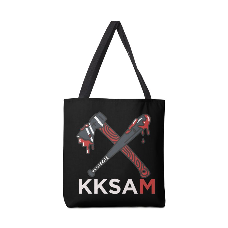 Kim and Ket Stay Alive... Maybe KKSAM Bat & Axe on Black Accessories Tote Bag Bag by Kim and Ket Stay Alive... Maybe Podcast