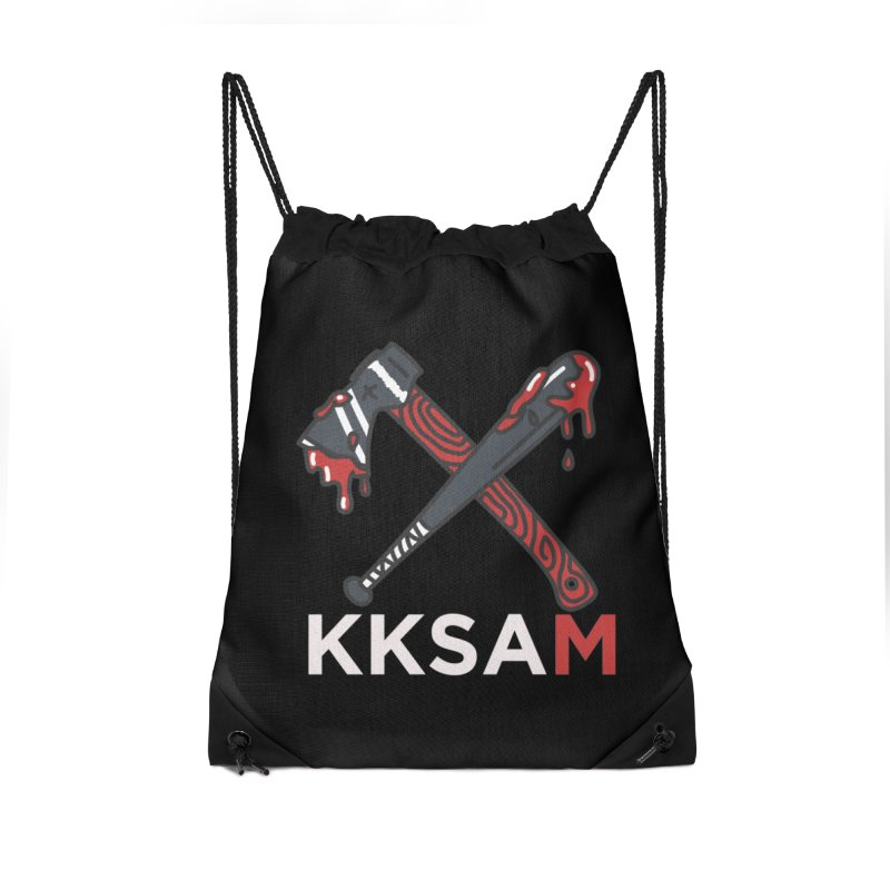 Kim and Ket Stay Alive... Maybe KKSAM Bat & Axe on Black Accessories Drawstring Bag Bag by Kim and Ket Stay Alive... Maybe Podcast