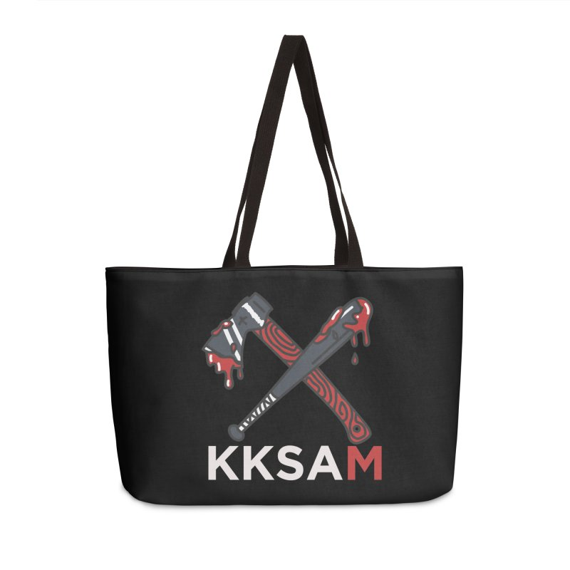 Kim and Ket Stay Alive... Maybe KKSAM Bat & Axe on Black Accessories Weekender Bag Bag by Kim and Ket Stay Alive... Maybe Podcast