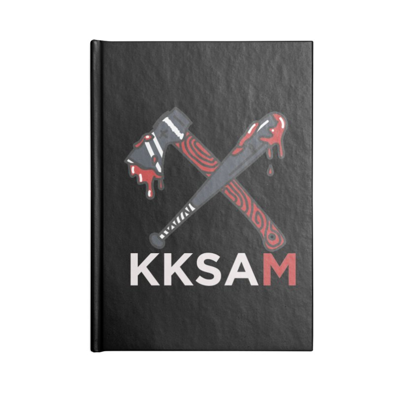 Kim and Ket Stay Alive... Maybe KKSAM Bat & Axe on Black Accessories Lined Journal Notebook by Kim and Ket Stay Alive... Maybe Podcast