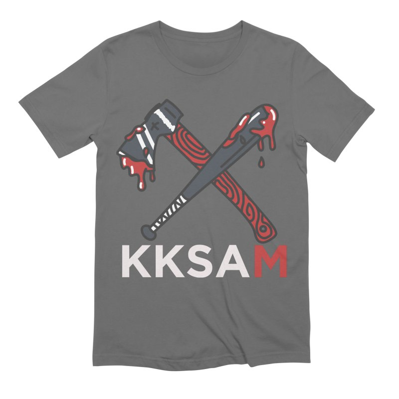 Bat and Axe KKSAM (white) Men's Extra Soft T-Shirt by Kim and Ket Stay Alive... Maybe Podcast