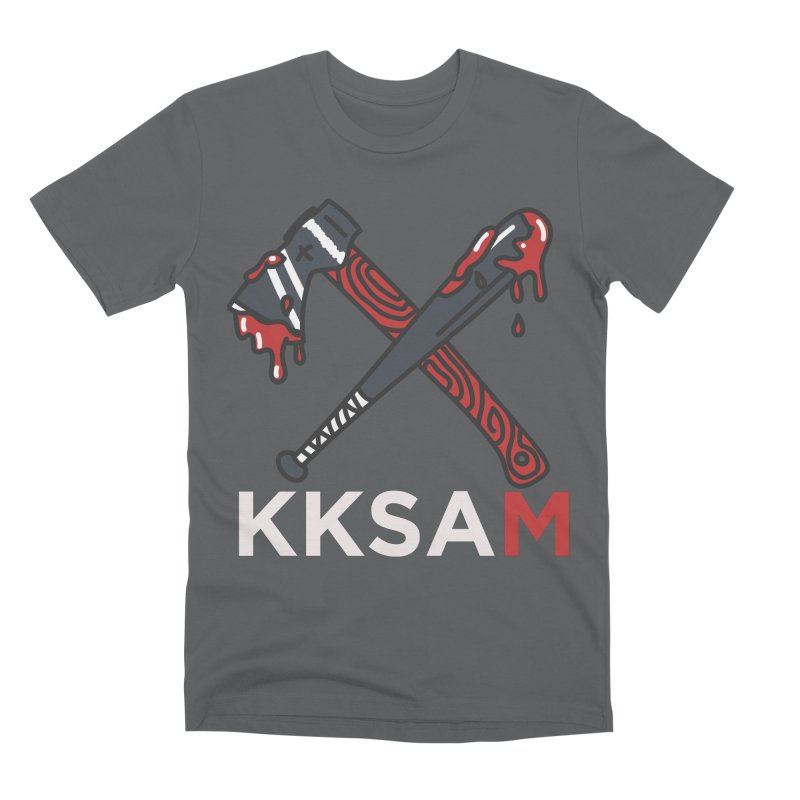 Kim and Ket Stay Alive... Maybe KKSAM Bat & Axe on Black Men's Premium T-Shirt by Kim and Ket Stay Alive... Maybe Podcast