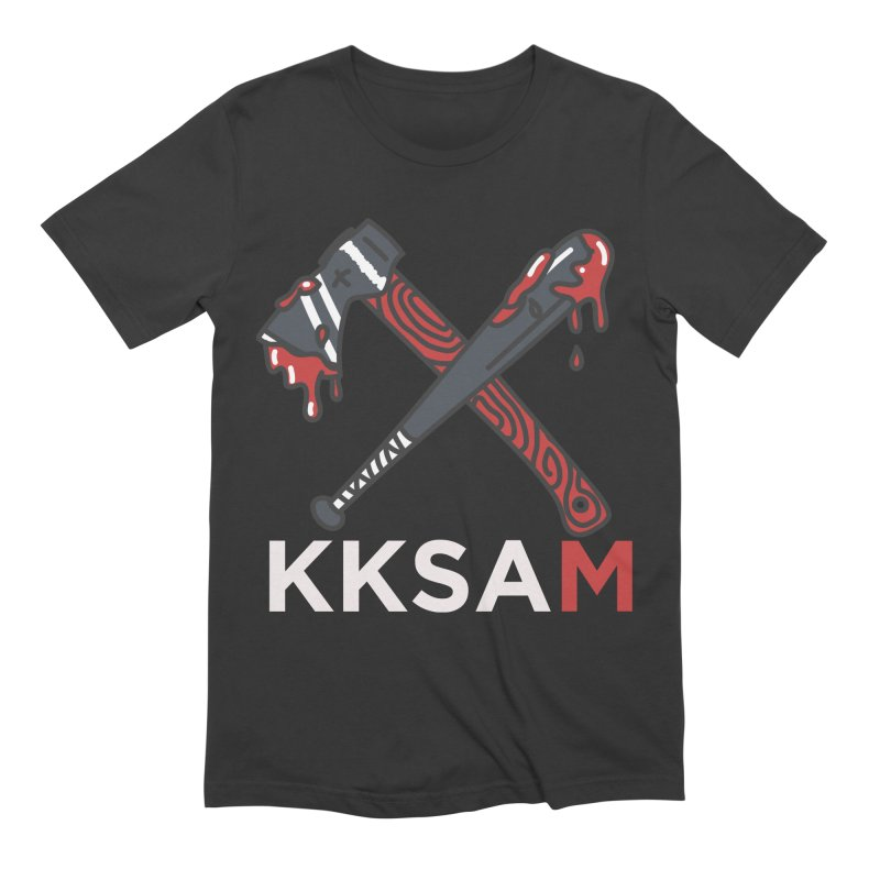 Kim and Ket Stay Alive... Maybe KKSAM Bat & Axe on Black Men's Extra Soft T-Shirt by Kim and Ket Stay Alive... Maybe Podcast