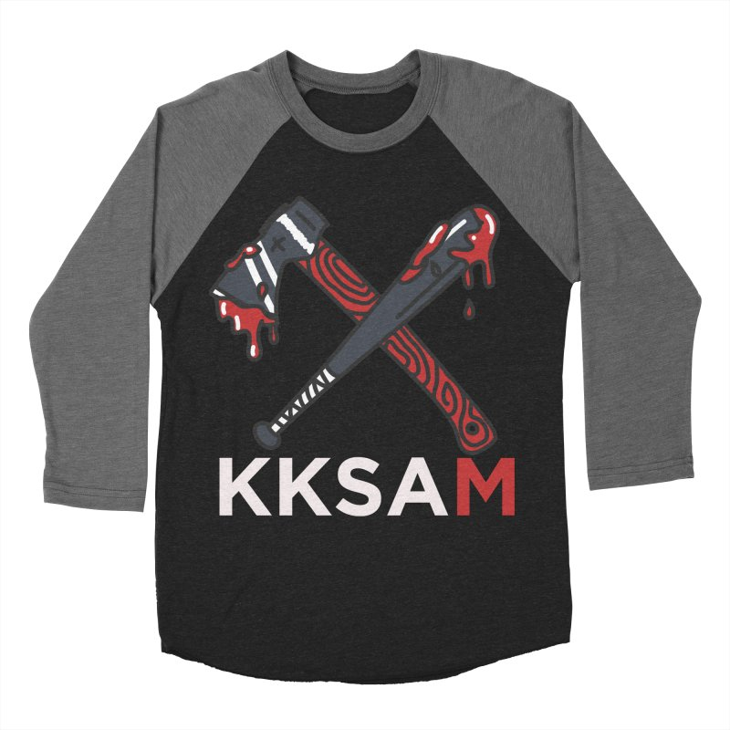 Kim and Ket Stay Alive... Maybe KKSAM Bat & Axe on Black in Women's Baseball Triblend Longsleeve T-Shirt Grey Triblend Sleeves by Kim and Ket Stay Alive... Maybe Podcast