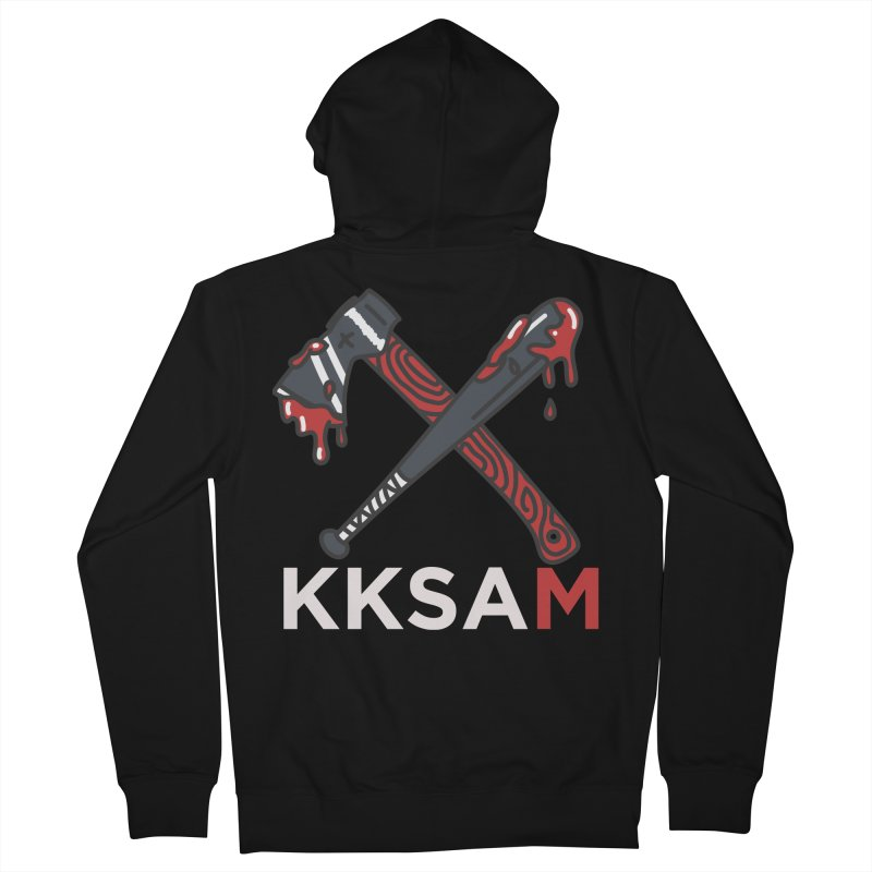 Kim and Ket Stay Alive... Maybe KKSAM Bat & Axe on Black Men's Zip-Up Hoody by Kim and Ket Stay Alive... Maybe Podcast
