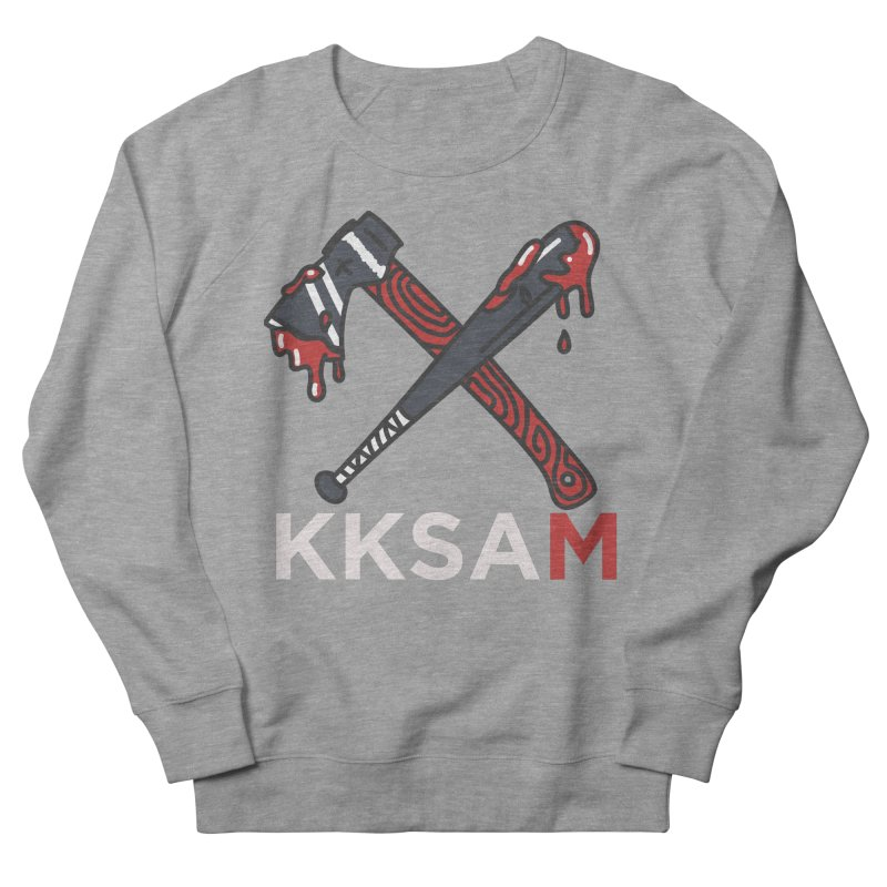 Kim and Ket Stay Alive... Maybe KKSAM Bat & Axe on Black Men's French Terry Sweatshirt by Kim and Ket Stay Alive... Maybe Podcast