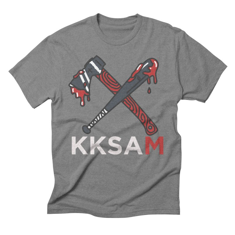 Kim and Ket Stay Alive... Maybe KKSAM Bat & Axe on Black Men's Triblend T-Shirt by Kim and Ket Stay Alive... Maybe Podcast