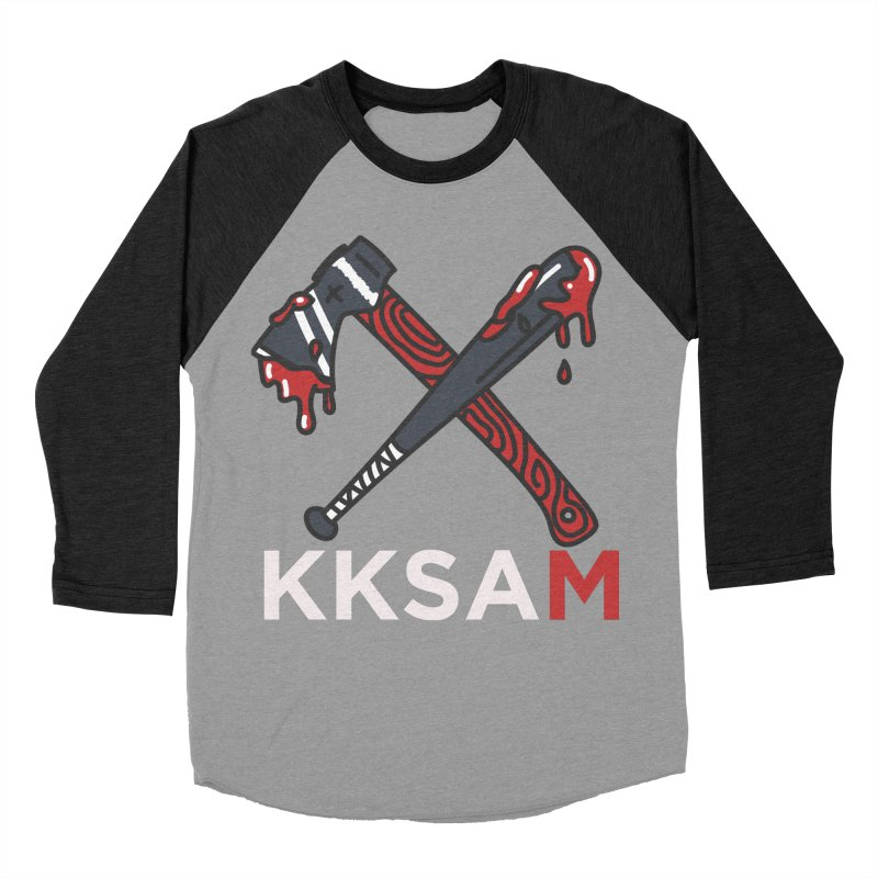 Kim and Ket Stay Alive... Maybe KKSAM Bat & Axe on Black Women's Baseball Triblend Longsleeve T-Shirt by Kim and Ket Stay Alive... Maybe Podcast