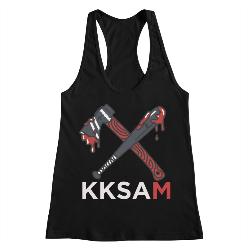 Kim and Ket Stay Alive... Maybe KKSAM Bat & Axe on Black Women's Racerback Tank by Kim and Ket Stay Alive... Maybe Podcast