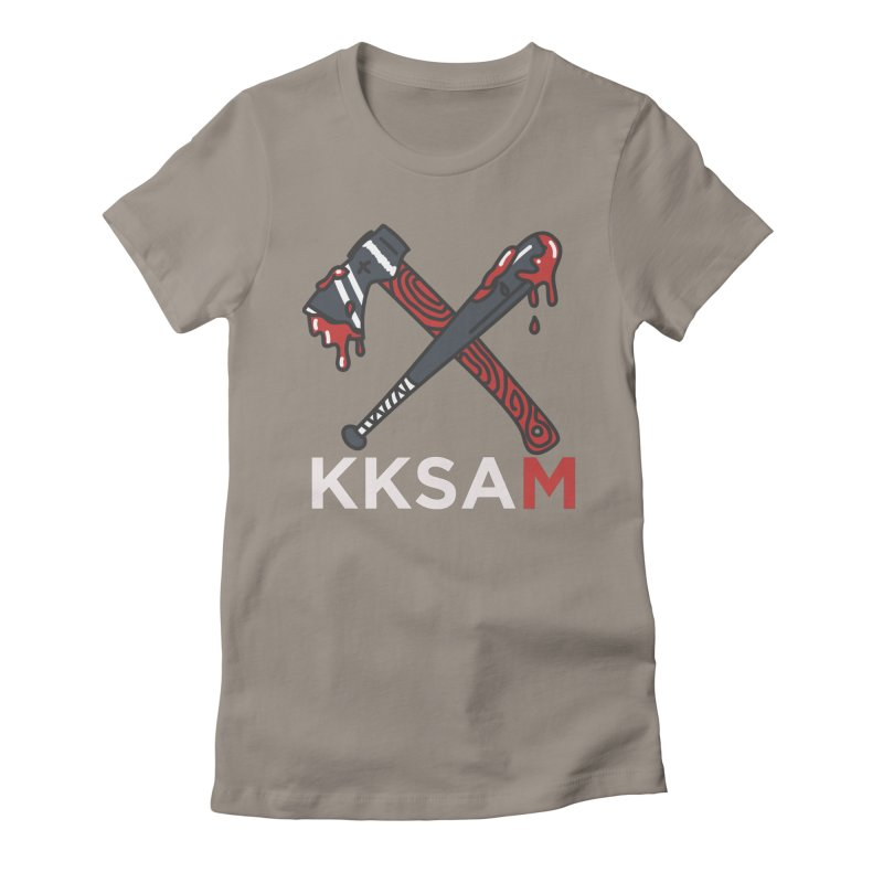Kim and Ket Stay Alive... Maybe KKSAM Bat & Axe on Black Women's T-Shirt by Kim and Ket Stay Alive... Maybe Podcast