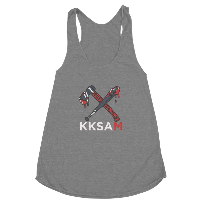 Kim and Ket Stay Alive... Maybe KKSAM Bat & Axe on Black Women's Racerback Triblend Tank by Kim and Ket Stay Alive... Maybe Podcast