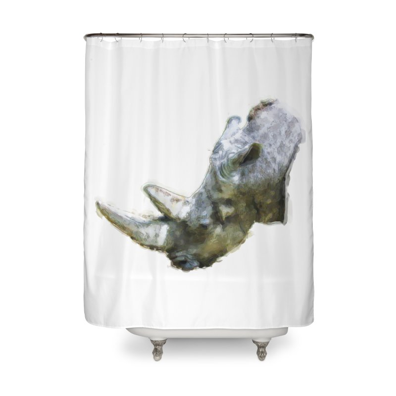 Rhinoceros Home Shower Curtain by Of The Wild by Kimberly J Tilley