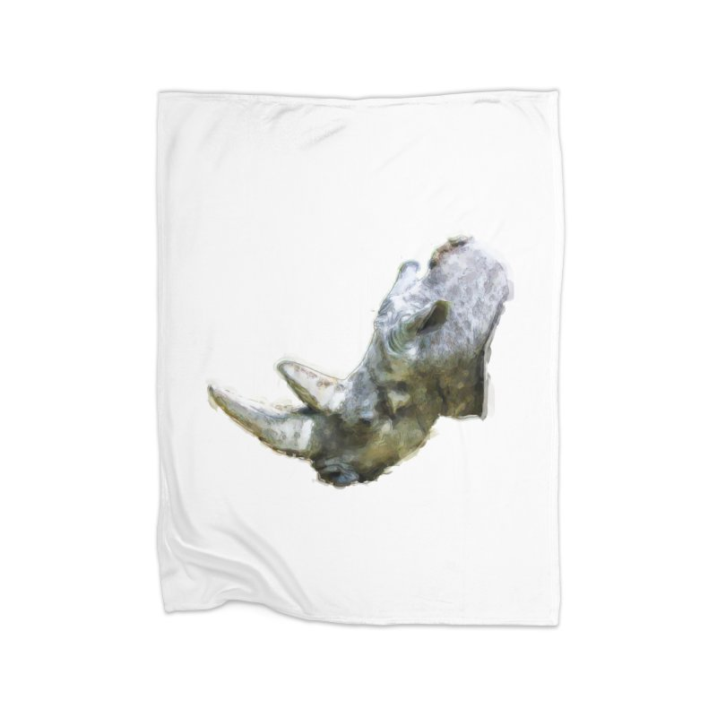 Rhinoceros Home Blanket by Of The Wild by Kimberly J Tilley