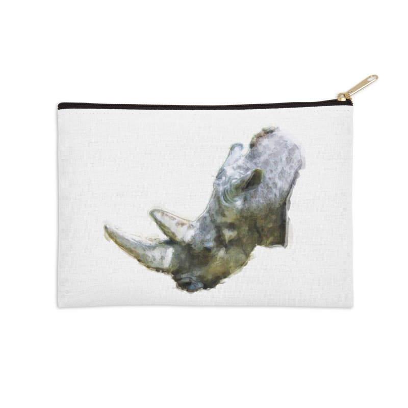 Rhinoceros Accessories Zip Pouch by Of The Wild by Kimberly J Tilley