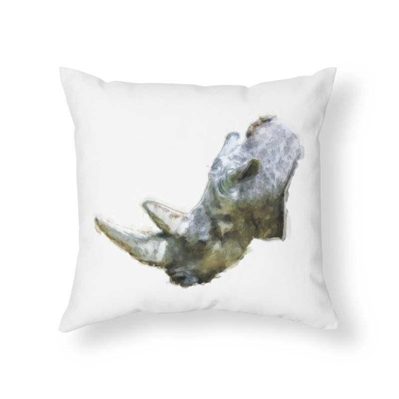 Rhinoceros Home Throw Pillow by Of The Wild by Kimberly J Tilley