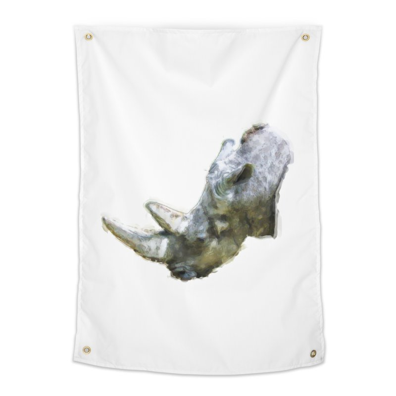 Rhinoceros Home Tapestry by Of The Wild by Kimberly J Tilley