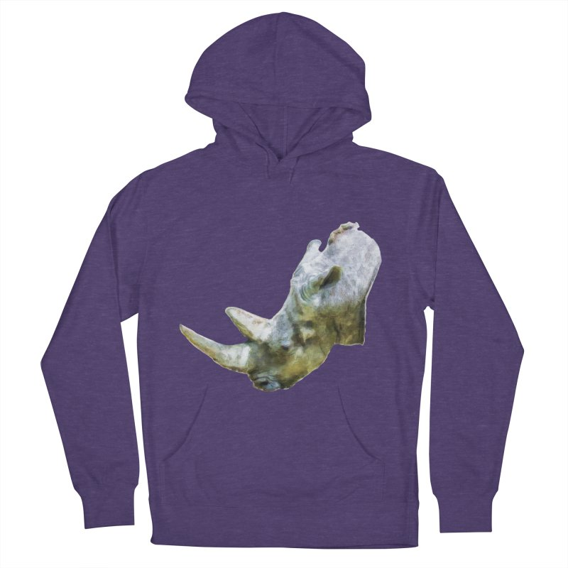 Rhinoceros Men's French Terry Pullover Hoody by Of The Wild by Kimberly J Tilley