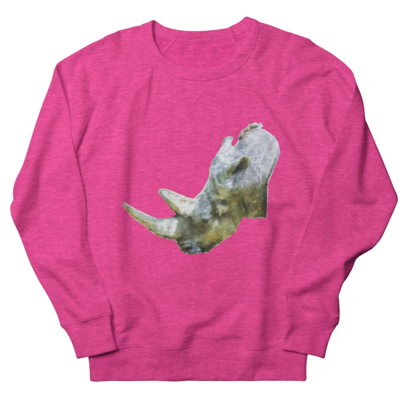 Rhinoceros Women's French Terry Sweatshirt by Of The Wild by Kimberly J Tilley
