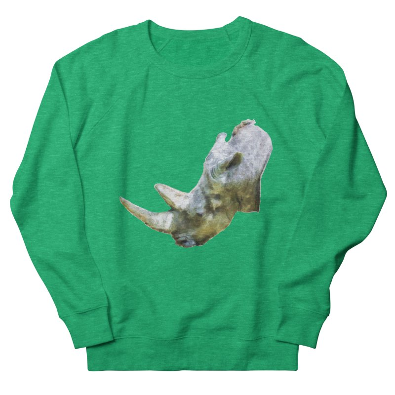 Rhinoceros Men's French Terry Sweatshirt by Of The Wild by Kimberly J Tilley