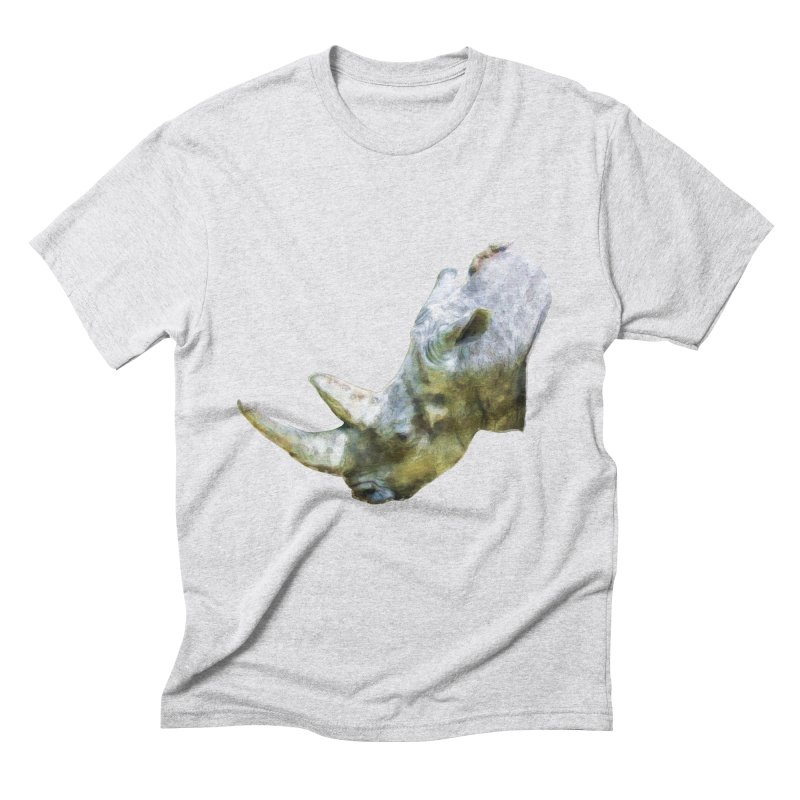 Rhinoceros Men's Triblend T-Shirt by Of The Wild by Kimberly J Tilley