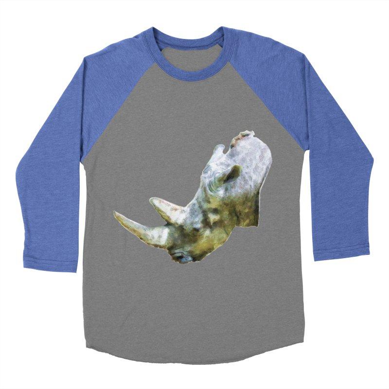 Rhinoceros Women's Baseball Triblend Longsleeve T-Shirt by Of The Wild by Kimberly J Tilley