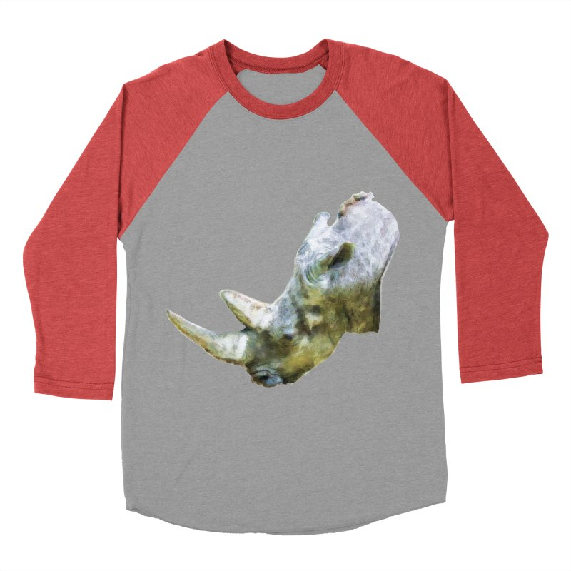 Rhinoceros Women's Baseball Triblend Longsleeve T-Shirt by Of The Wild by Kimberly J Tilley