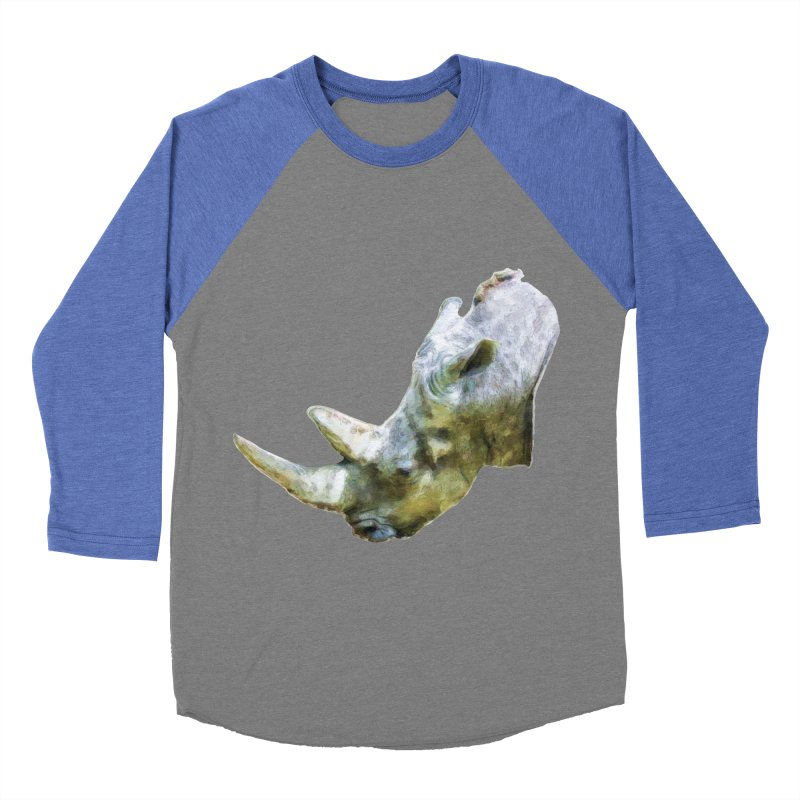 Rhinoceros Men's Baseball Triblend T-Shirt by Of The Wild by Kimberly J Tilley