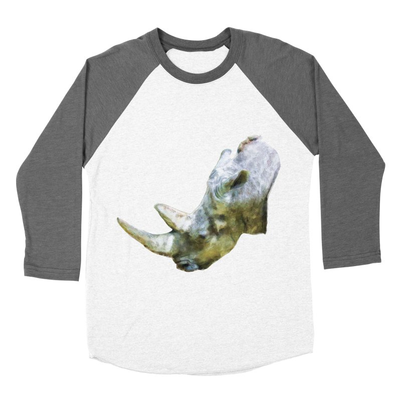 Rhinoceros Men's Baseball Triblend Longsleeve T-Shirt by Of The Wild by Kimberly J Tilley