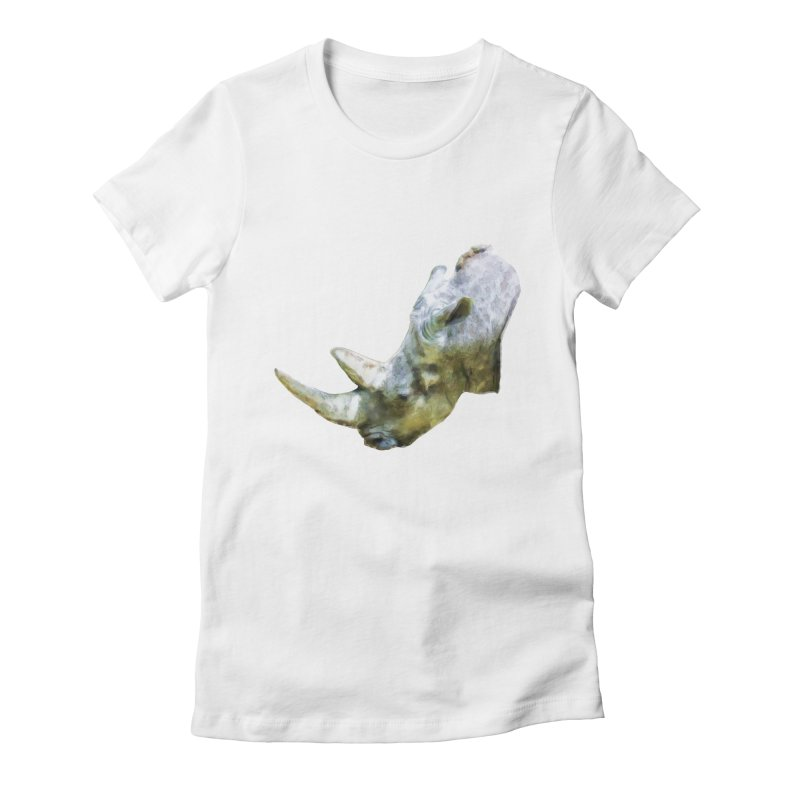 Rhinoceros Women's Fitted T-Shirt by Of The Wild by Kimberly J Tilley