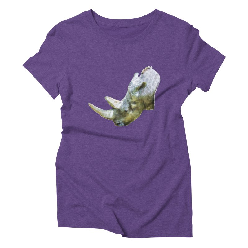Rhinoceros Women's Triblend T-Shirt by Of The Wild by Kimberly J Tilley