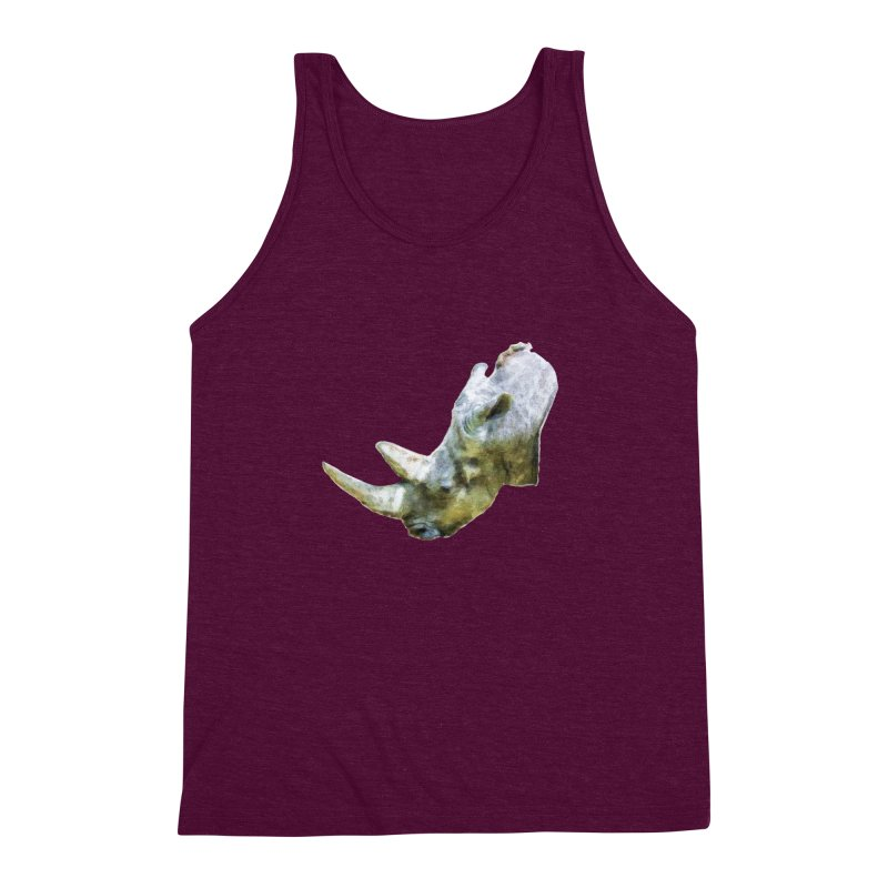 Rhinoceros Men's Triblend Tank by Of The Wild by Kimberly J Tilley