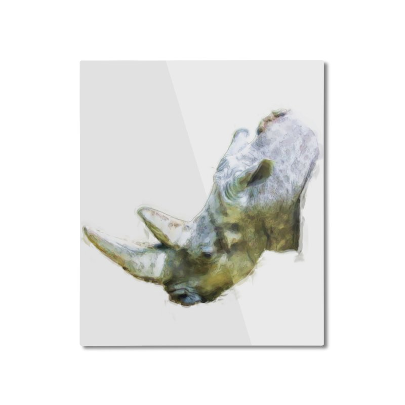 Rhinoceros Home Mounted Aluminum Print by Of The Wild by Kimberly J Tilley