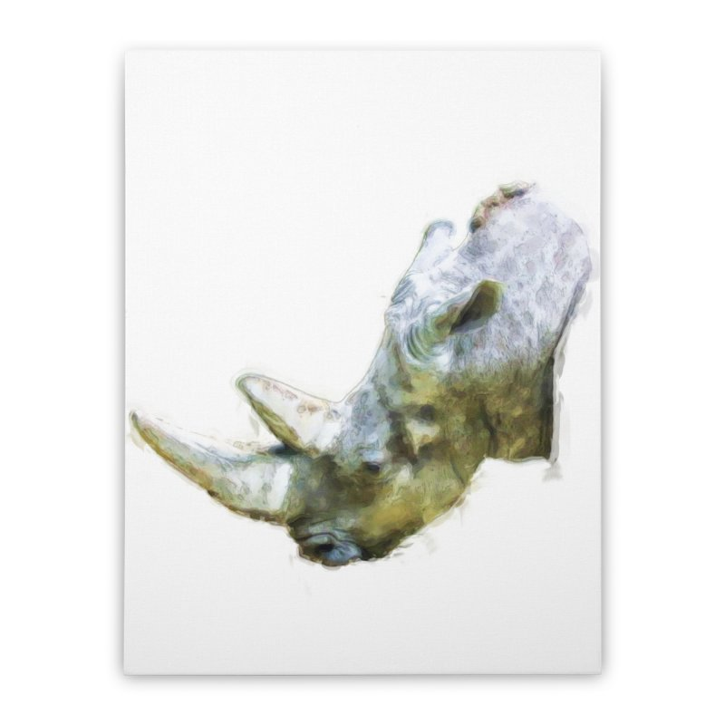 Rhinoceros Home Stretched Canvas by Of The Wild by Kimberly J Tilley