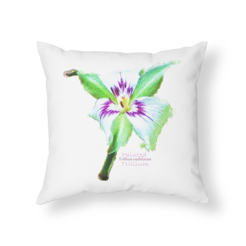 Trillium undulatum Home Throw Pillow by Of The Wild by Kimberly J Tilley
