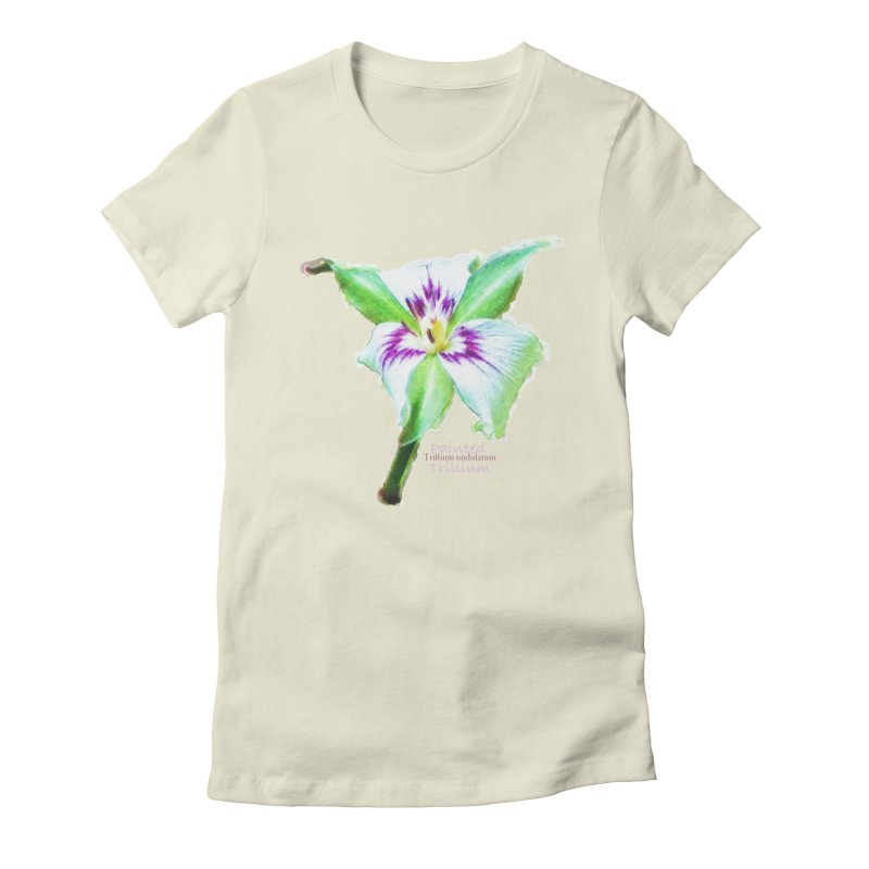 Trillium undulatum Women's Fitted T-Shirt by Of The Wild by Kimberly J Tilley