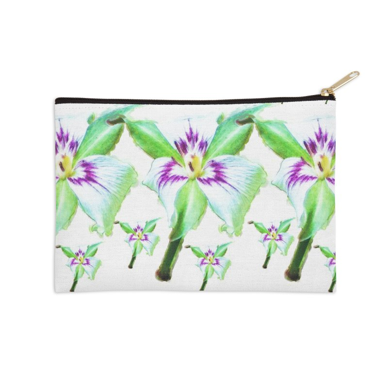 Trillium undulatum Accessories Zip Pouch by Of The Wild by Kimberly J Tilley